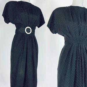 80s does 50s polka dot pinup wiggle dress.